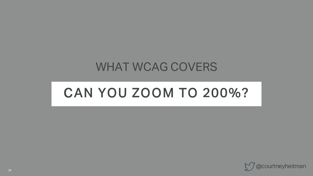 @courtneyheitman WHAT WCAG COVERS CAN YOU ZOOM ...