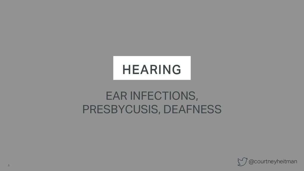 @courtneyheitman HEARING EAR INFECTIONS, PRESBY...