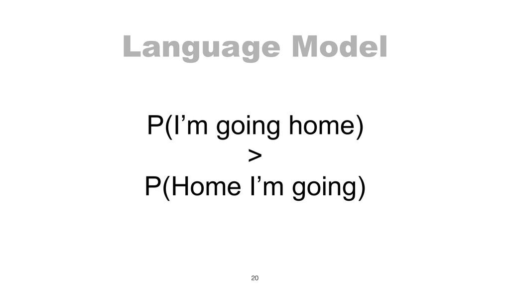 Language Model P(I'm going home) > P(Home I'm...