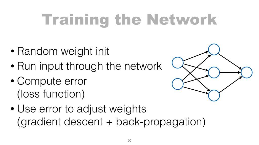 Training the Network 50 • Random weight init • ...