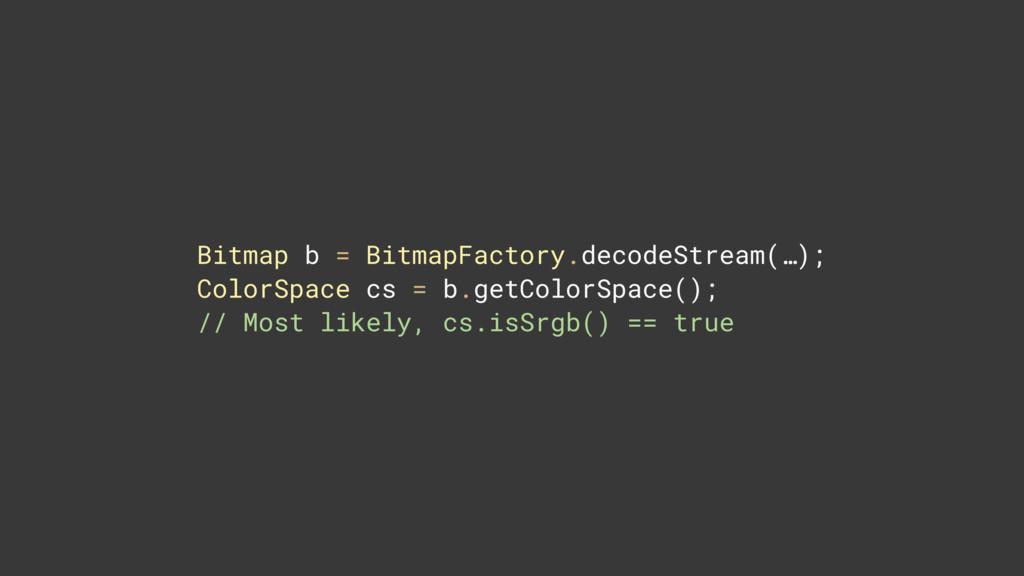 Bitmap b = BitmapFactory.decodeStream(…); Colo...