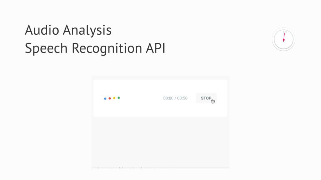 Audio Analysis Speech Recognition API