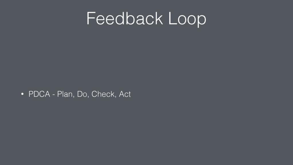 Feedback Loop • PDCA - Plan, Do, Check, Act