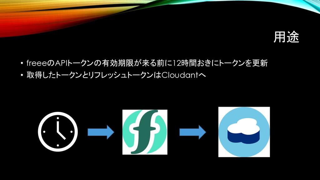 用途 • freeeのAPIトークンの有効期限が来る前に12時間おきにトークンを更新 • 取得...