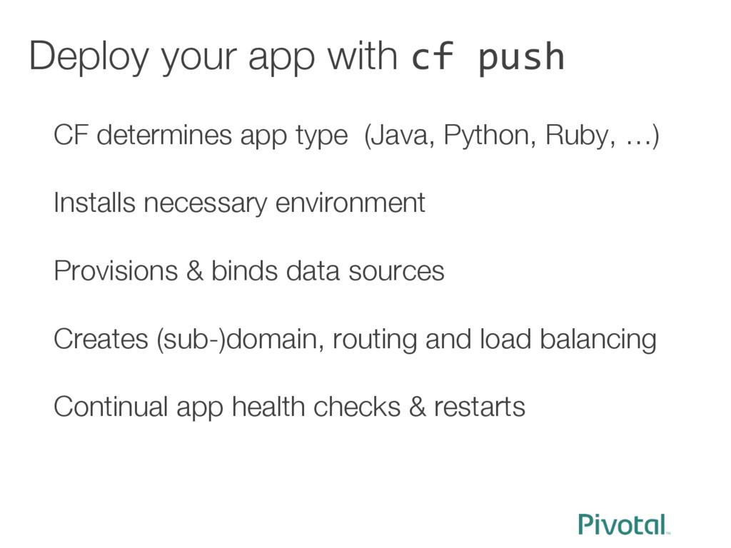 Deploy your app with cf push CF determines app ...