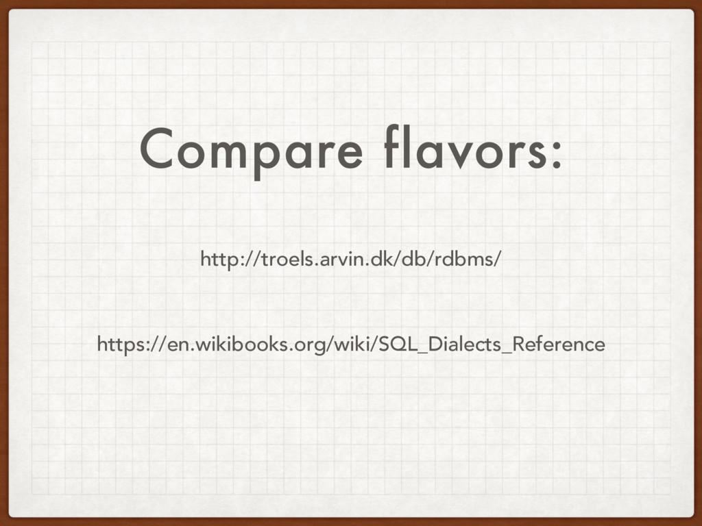 Compare flavors: http://troels.arvin.dk/db/rdbm...