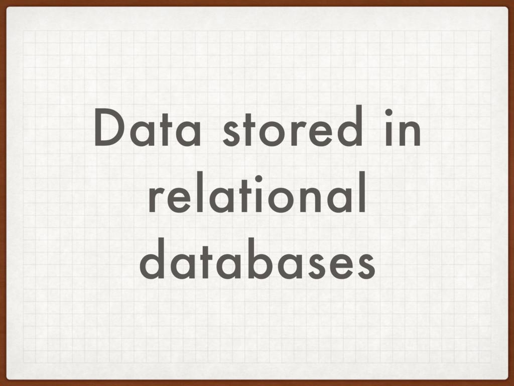 Data stored in relational databases