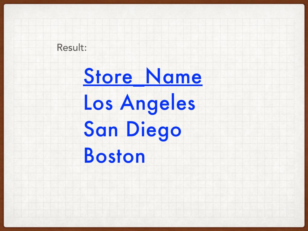 Store_Name Los Angeles San Diego Boston Result: