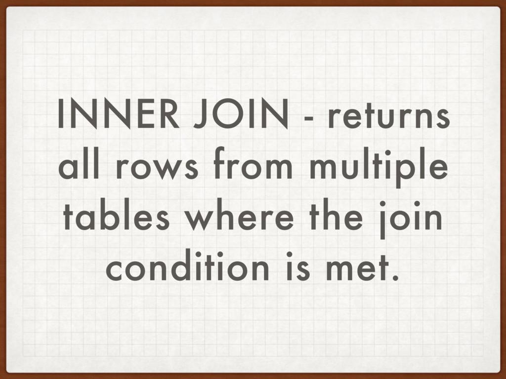INNER JOIN - returns all rows from multiple tab...