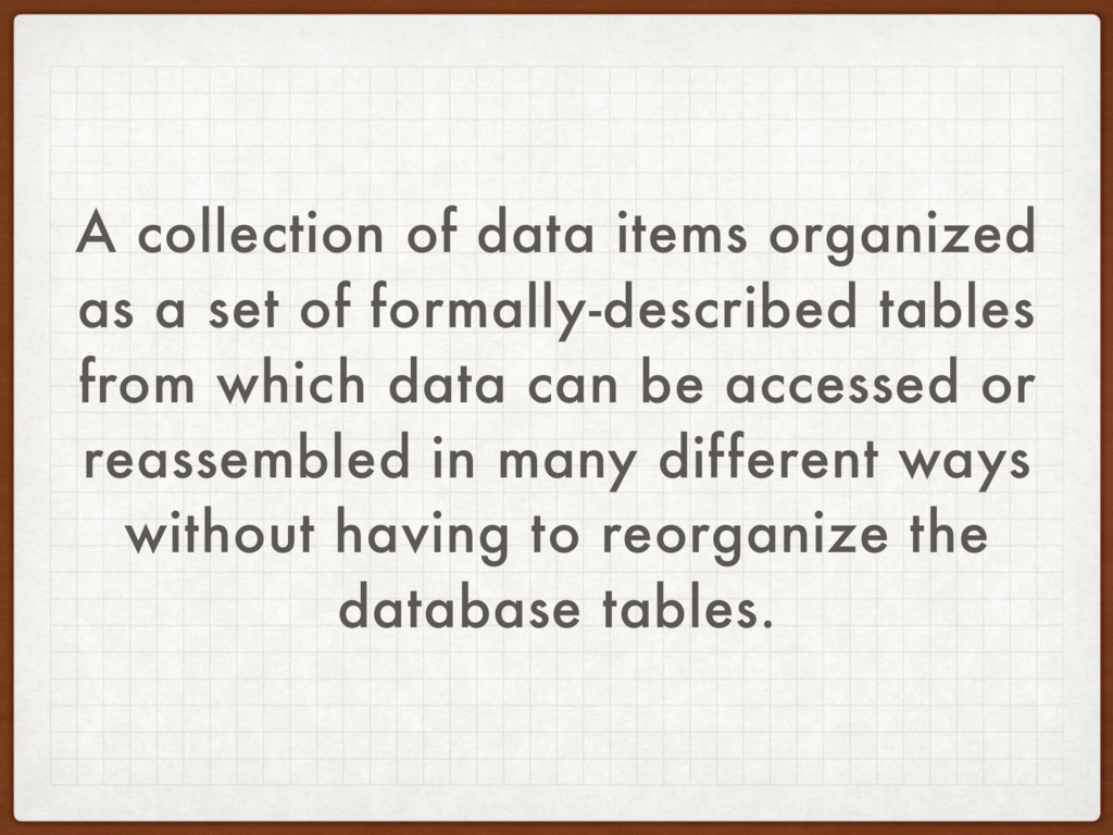 A collection of data items organized as a set o...