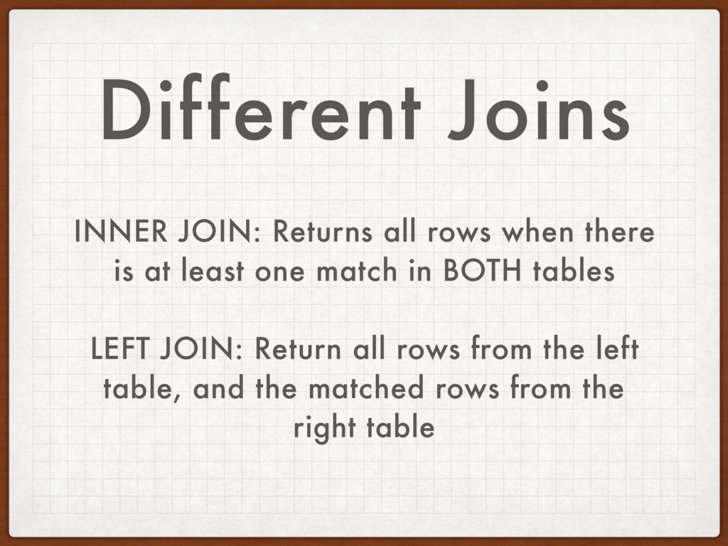 Different Joins INNER JOIN: Returns all rows wh...