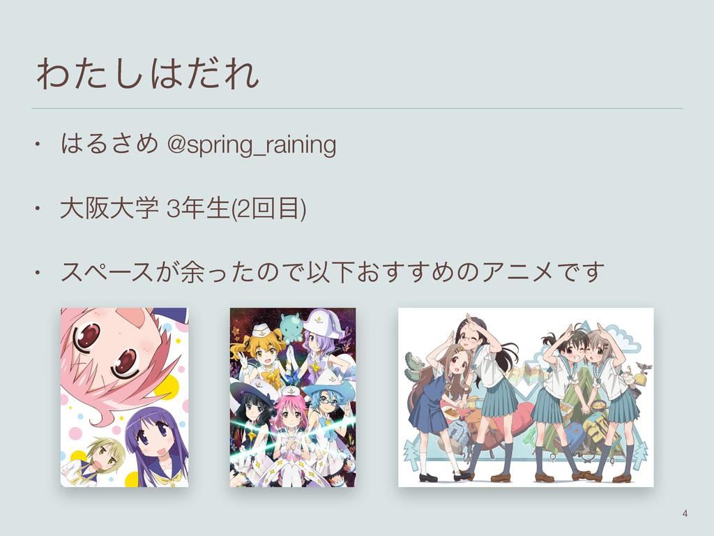 Θͨͩ͠Ε • Δ͞Ί @spring_raining • େࡕେֶ 3ੜ(2ճ) •...
