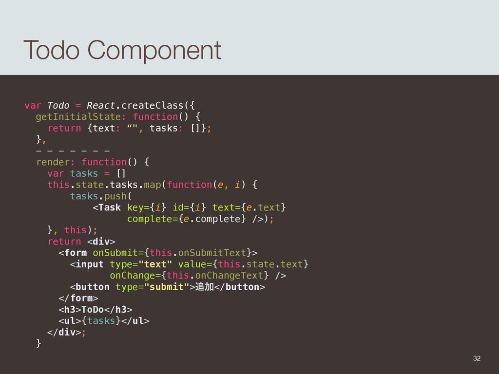 Todo Component var Todo = React.createClass({ ...