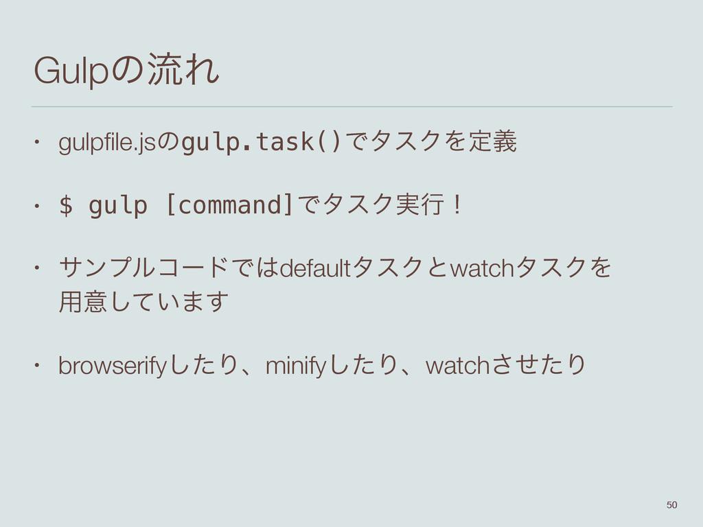 GulpͷྲྀΕ • gulpfile.jsͷgulp.task()ͰλεΫΛఆٛ • $ gul...