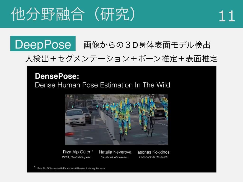 ଞ༥߹ʢݚڀʣ !11 DeepPose ը૾͔Βͷ̏Dମද໘Ϟσϧݕग़ ਓݕग़ʴηάϝ...