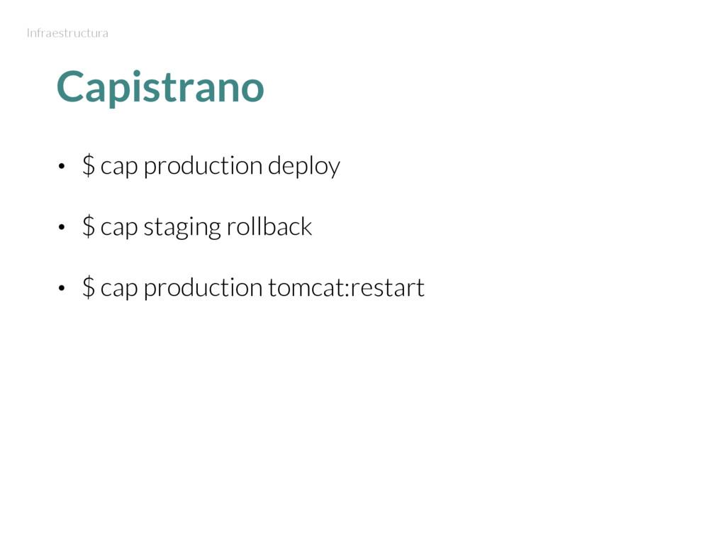 Capistrano • $ cap production deploy • $ cap st...