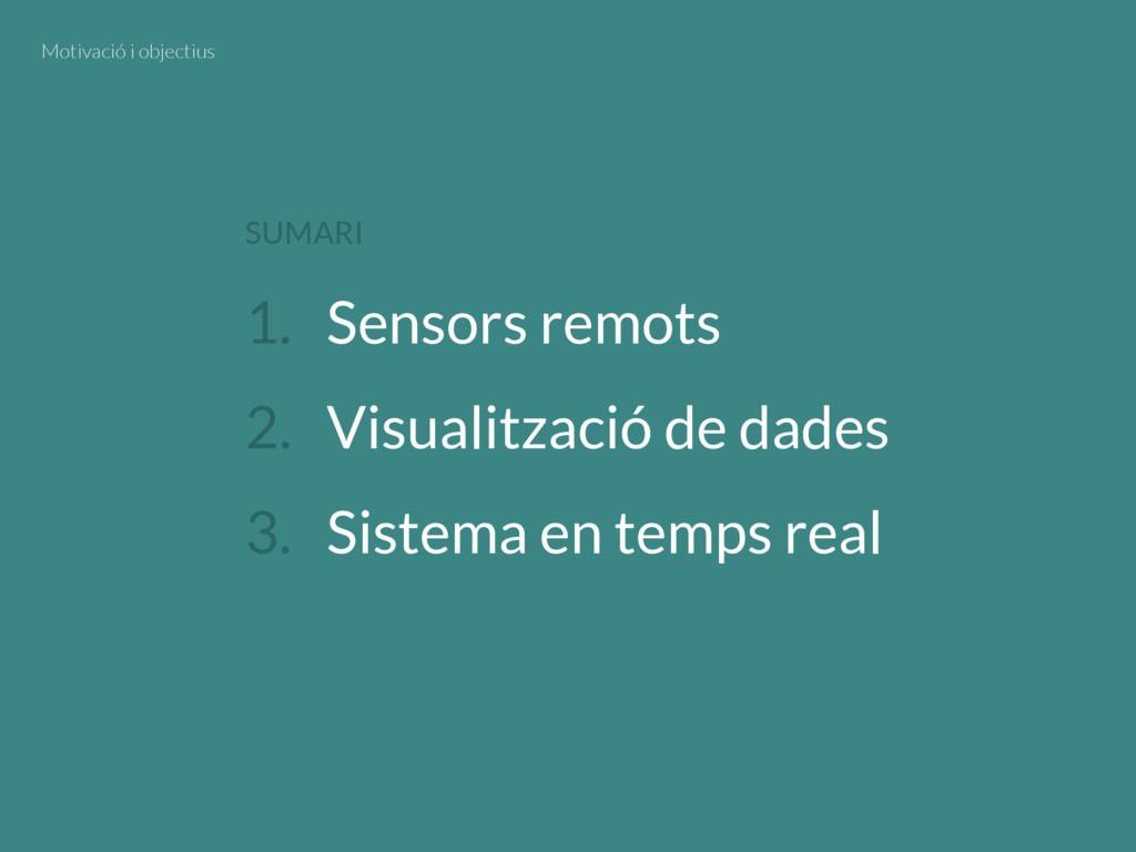 1. Sensors remots 2. Visualització de dades 3. ...