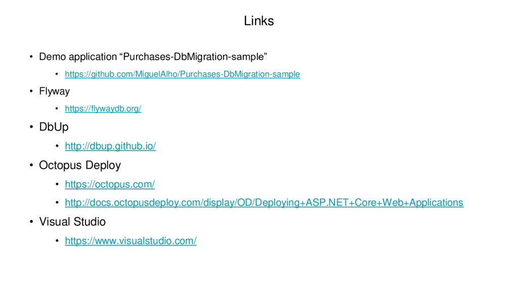 """Links • Demo application """"Purchases-DbMigration..."""