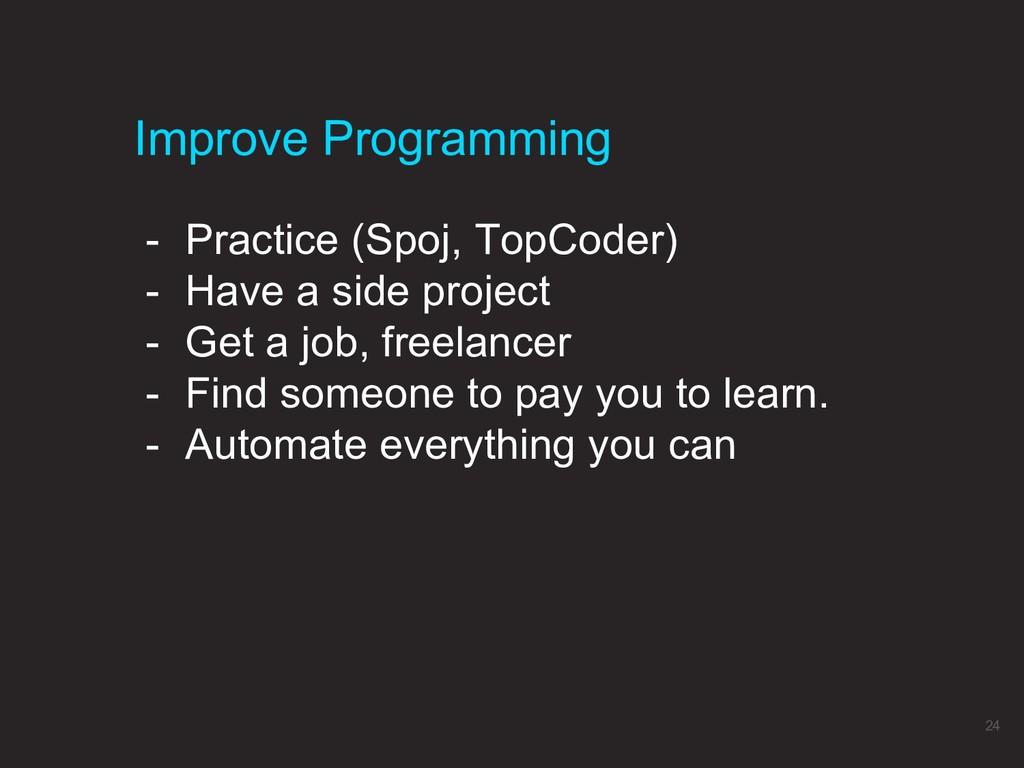 - Practice (Spoj, TopCoder) - Have a side proje...