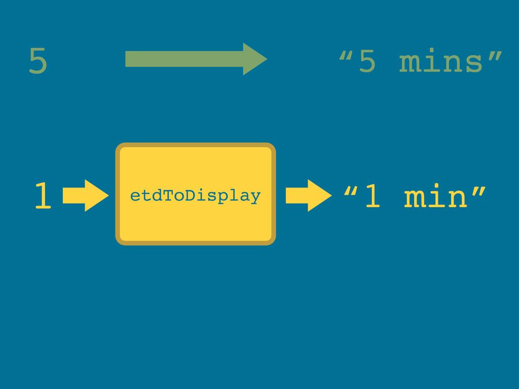 """etdToDisplay 1 """"1 min"""" 5 """"5 mins"""""""
