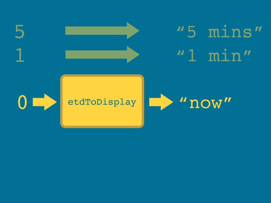 "etdToDisplay 0 ""now"" 5 ""5 mins"" 1 ""1 min"""