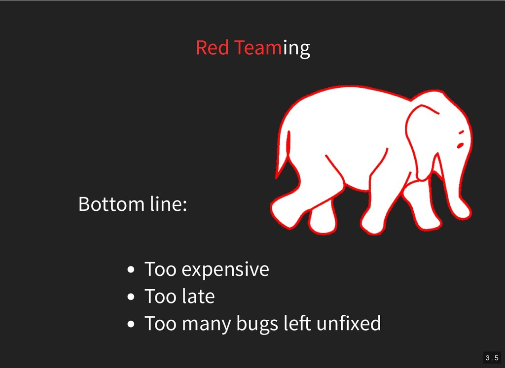 Bottom line: Red Teaming Too expensive Too late...