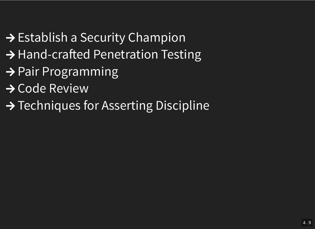  Establish a Security Champion  Hand-cra ed P...