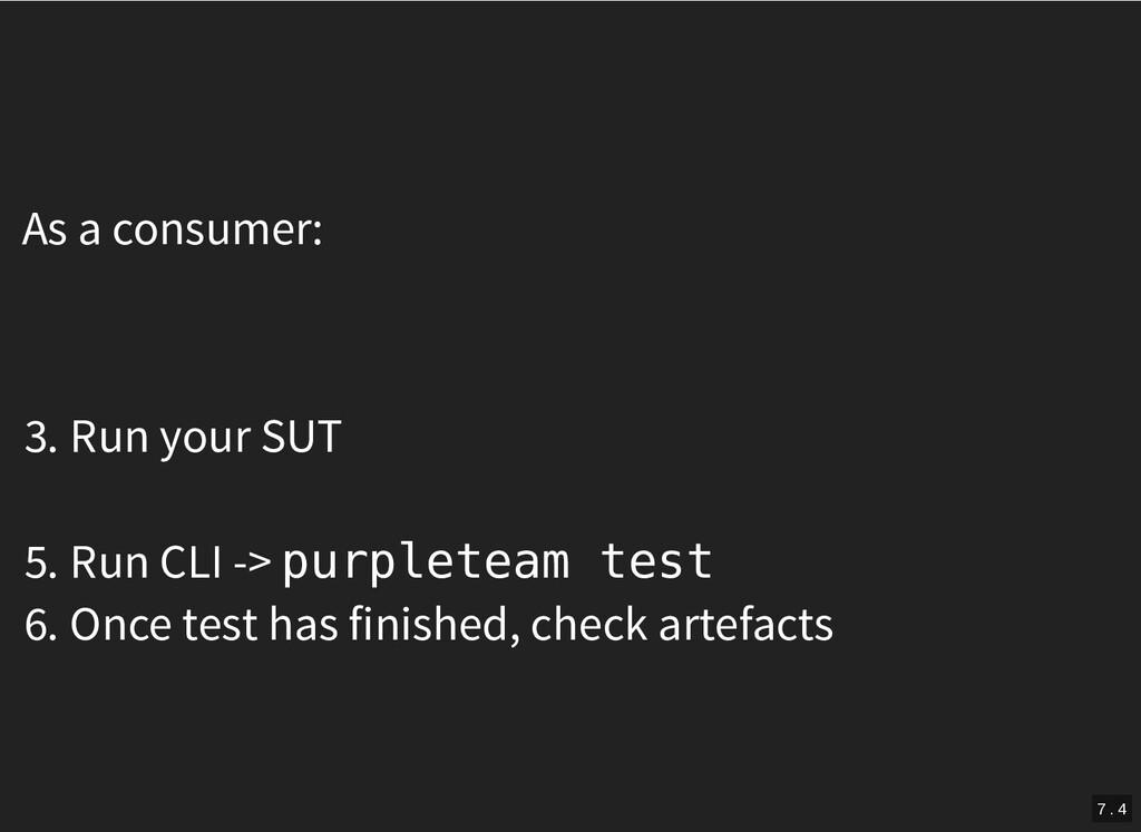 As a consumer: 3. Run your SUT 5. Run CLI -> pu...