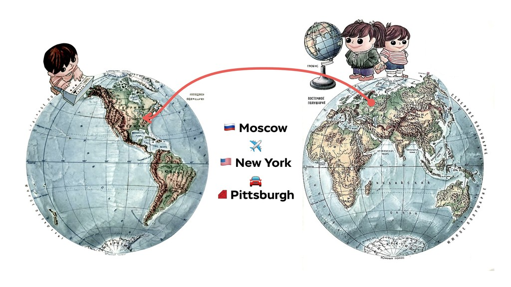 ! Moscow ✈ # New York  Pittsburgh