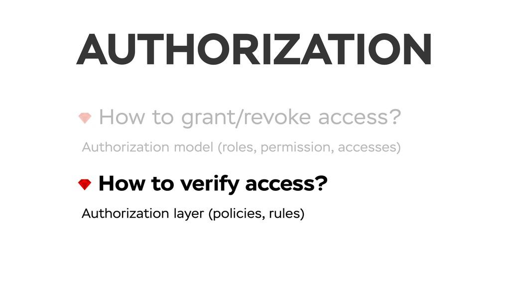 How to grant/revoke access? Authorization model...