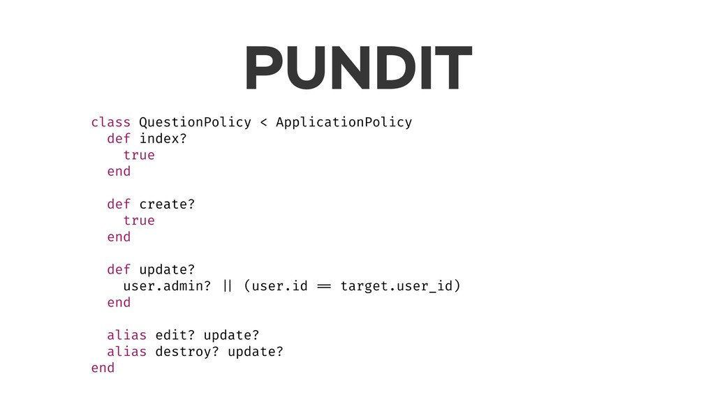 PUNDIT class QuestionPolicy < ApplicationPolicy...