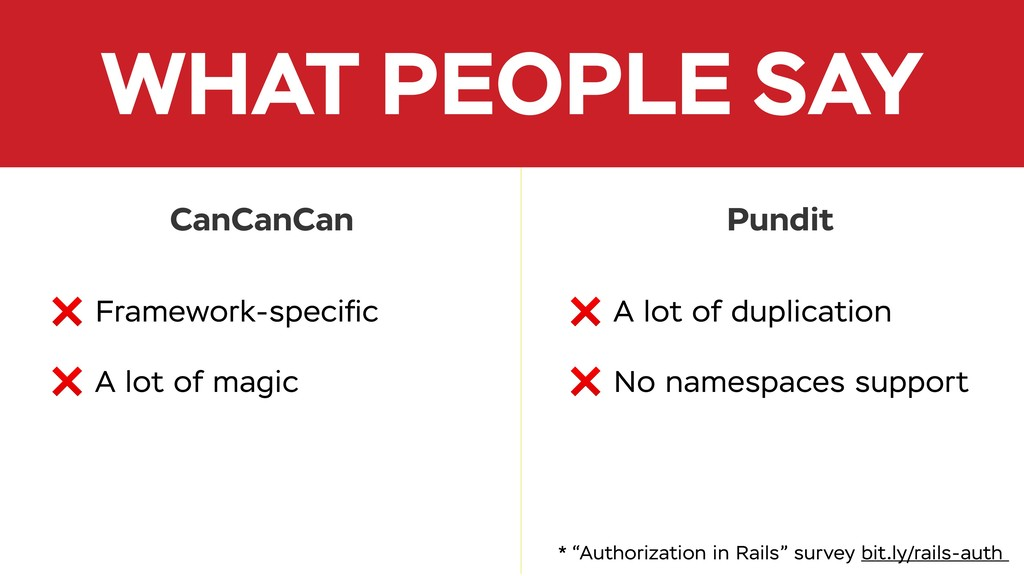 WHAT PEOPLE SAY ❌ Framework-specific ❌ A lot of ...