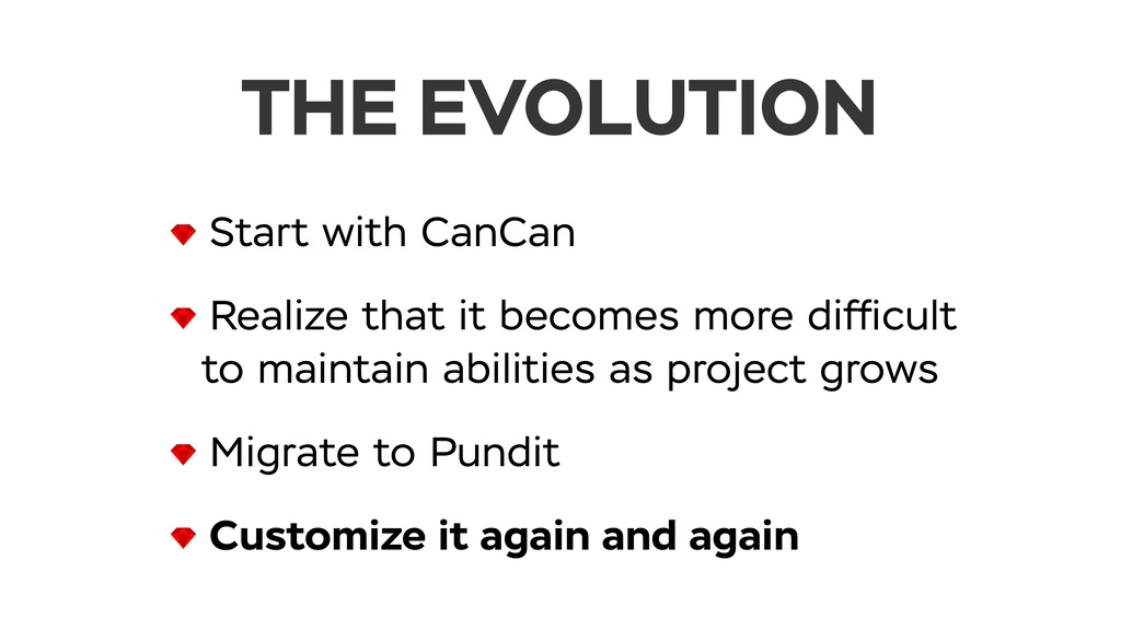 THE EVOLUTION Start with CanCan Realize that it...