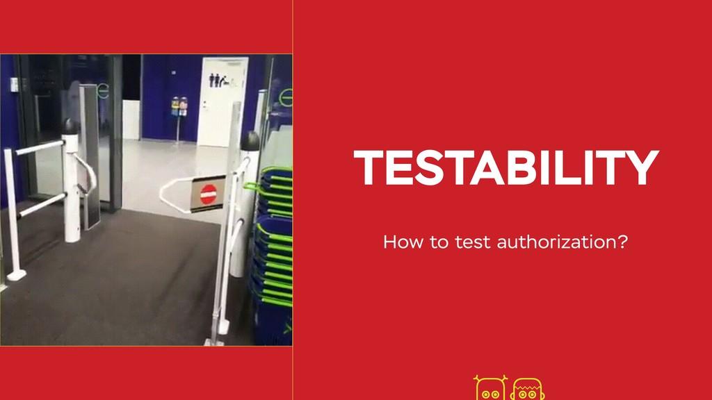 TESTABILITY How to test authorization?