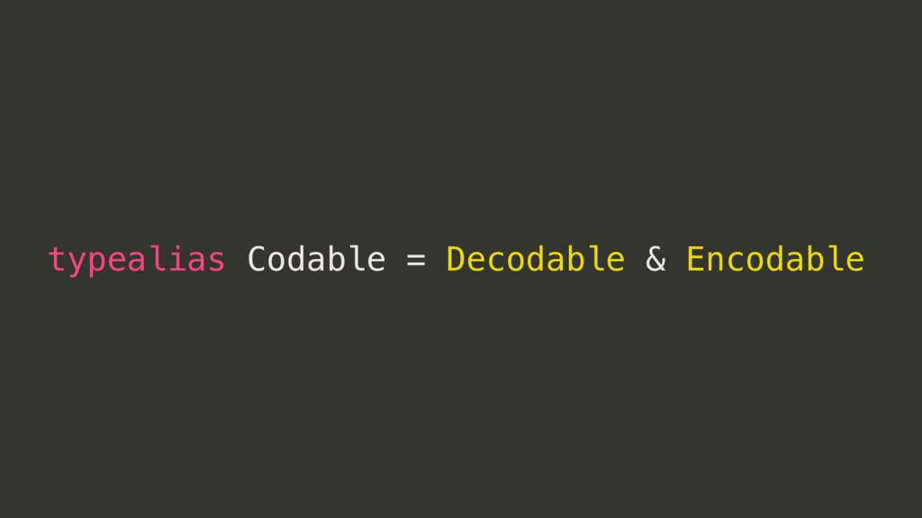 typealias Codable = Decodable & Encodable