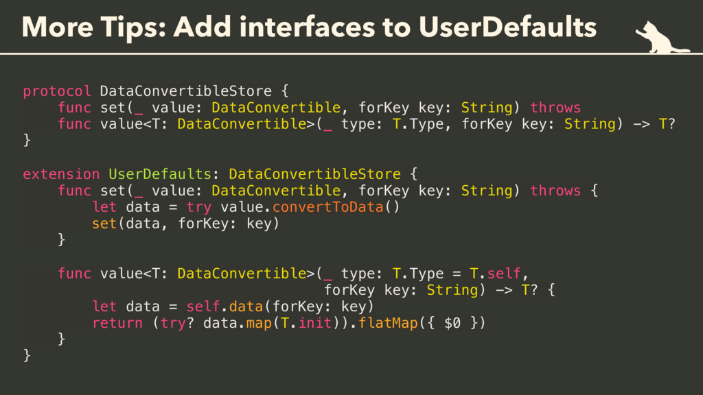 More Tips: Add interfaces to UserDefaults proto...