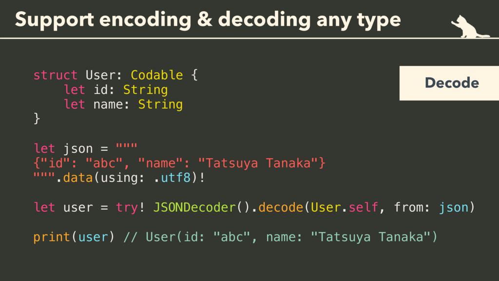 Support encoding & decoding any type struct Use...