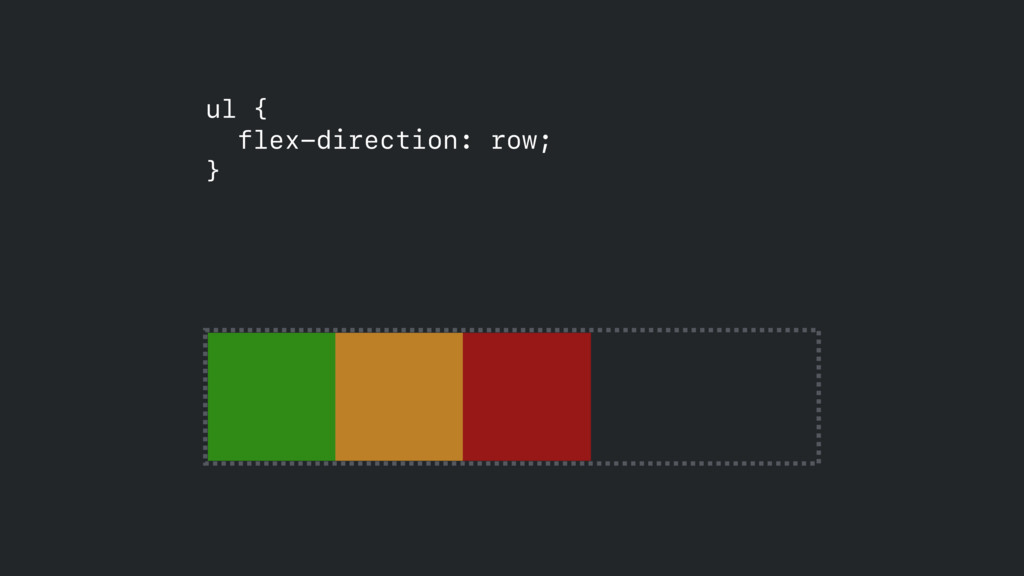 ul { flex-direction: row; }