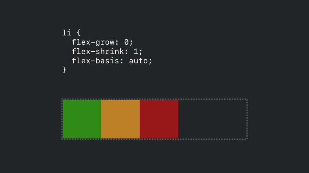 li { flex-grow: 0;  flex-shrink: 1;  flex-ba...