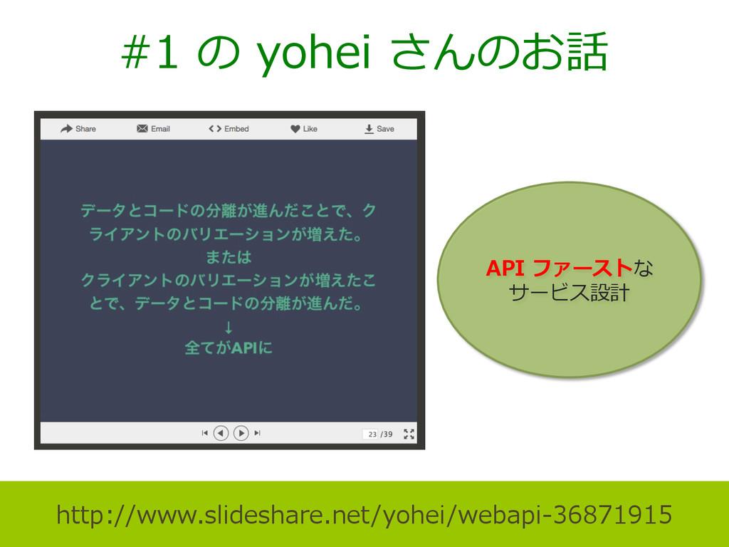 #1 の yohei さんのお話 http://www.slideshare.net/y...