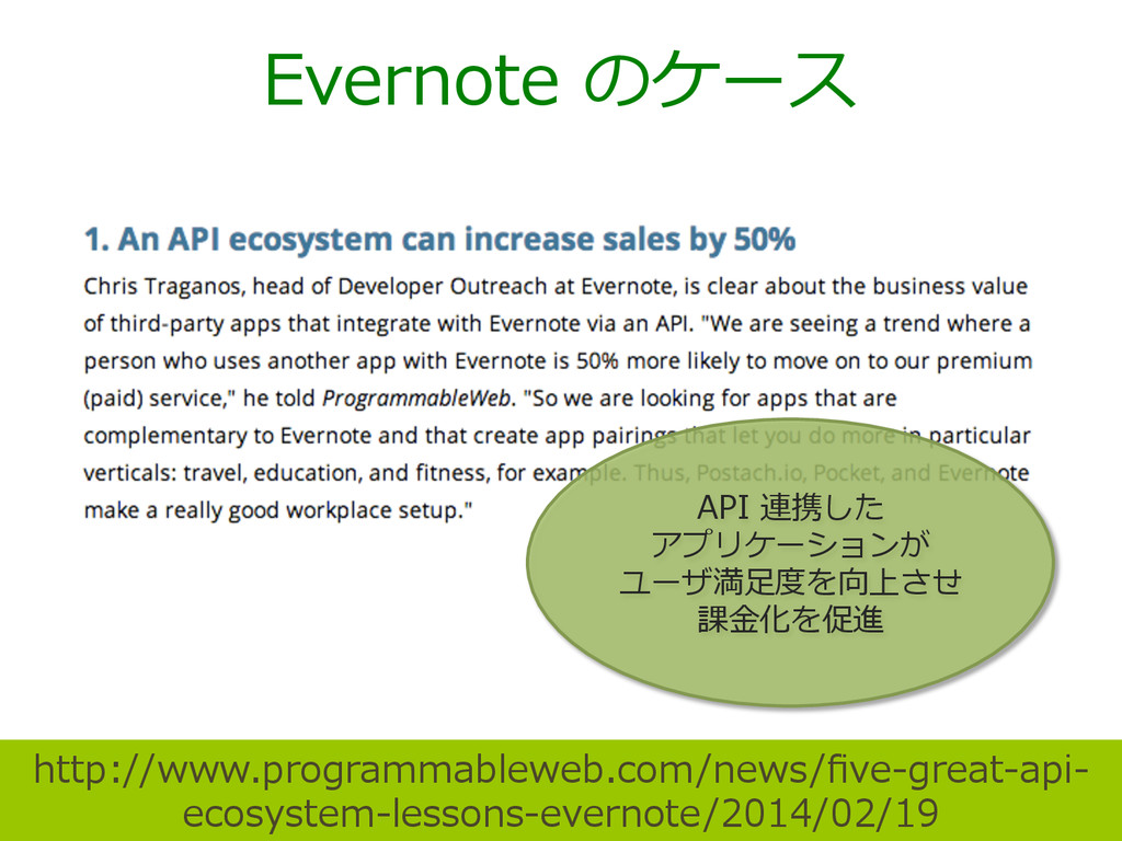 Evernote のケース http://www.programmableweb.com/n...
