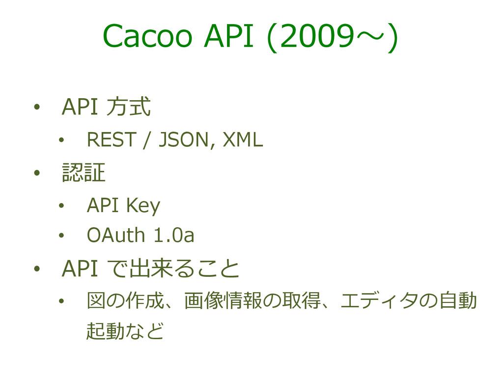 Cacoo API (2009〜~) • API ⽅方式 • REST / JS...
