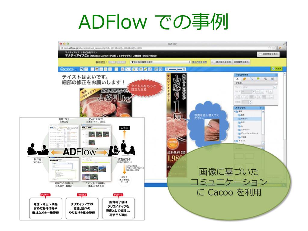 ADFlow での事例例 画像に基づいた コミュニケーション に Cacoo を利利⽤用