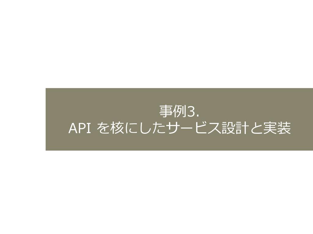 事例例3.  API を核にしたサービス設計と実装