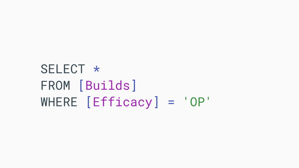 SELECT * FROM [Builds] WHERE [Efficacy] = 'OP'
