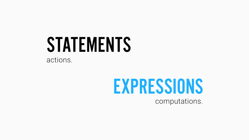 STATEMENTS EXPRESSIONS computations. actions.