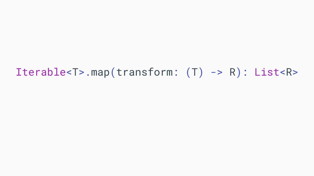 Iterable<T>.map(transform: (T) -> R): List<R>