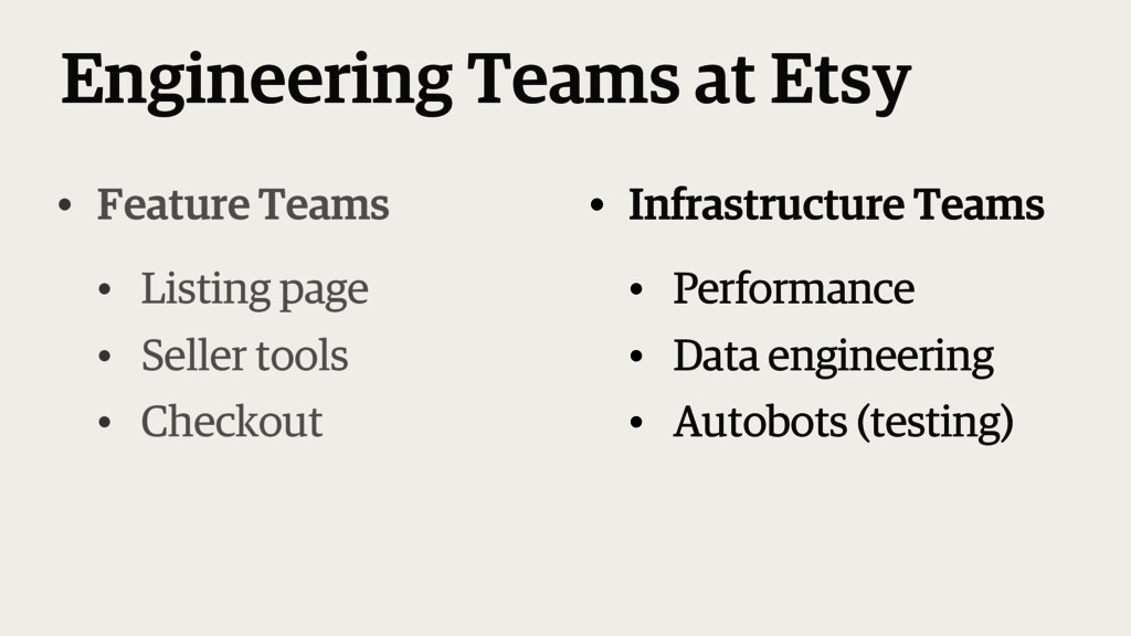 Engineering Teams at Etsy • Infrastructure Team...