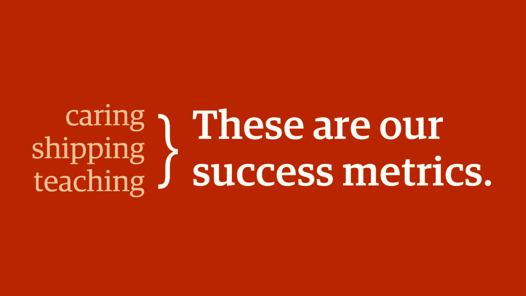 These are our success metrics. caring shipping ...