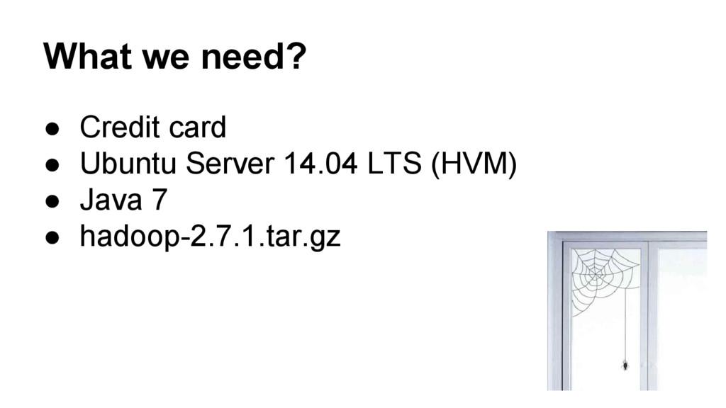 What we need? ● Credit card ● Ubuntu Server 14....